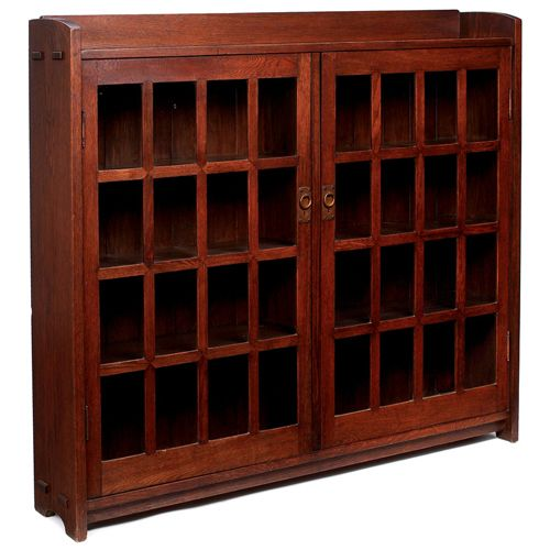 Gustav Stickley Early Bookcase 544 Double Door Form With 16 Panes Each