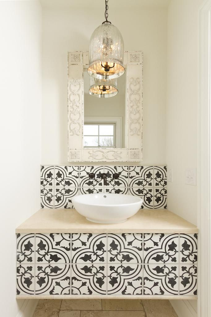 Vanity With Cement Tile Accents Tuscan House Bathroom