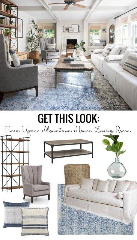 Farmhouse living room design guide how to get this look fixer upper mountain house living room farmhouse joannagaines moodboards interiordesi