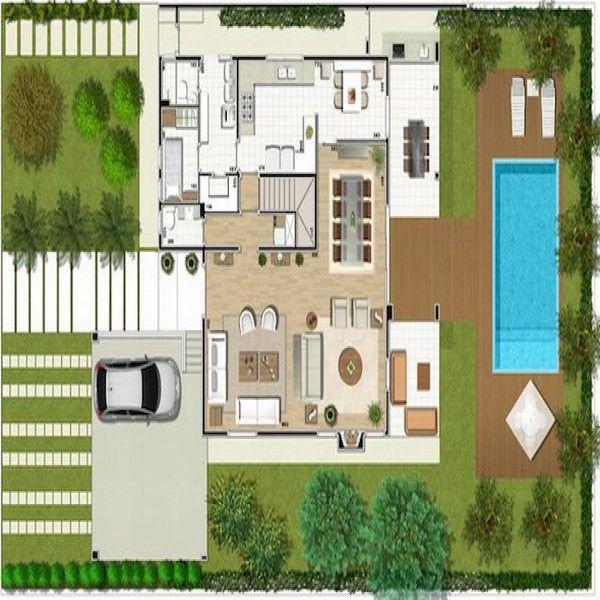 Plantas de casas pequenas com piscinas garden for Plantas para piscinas