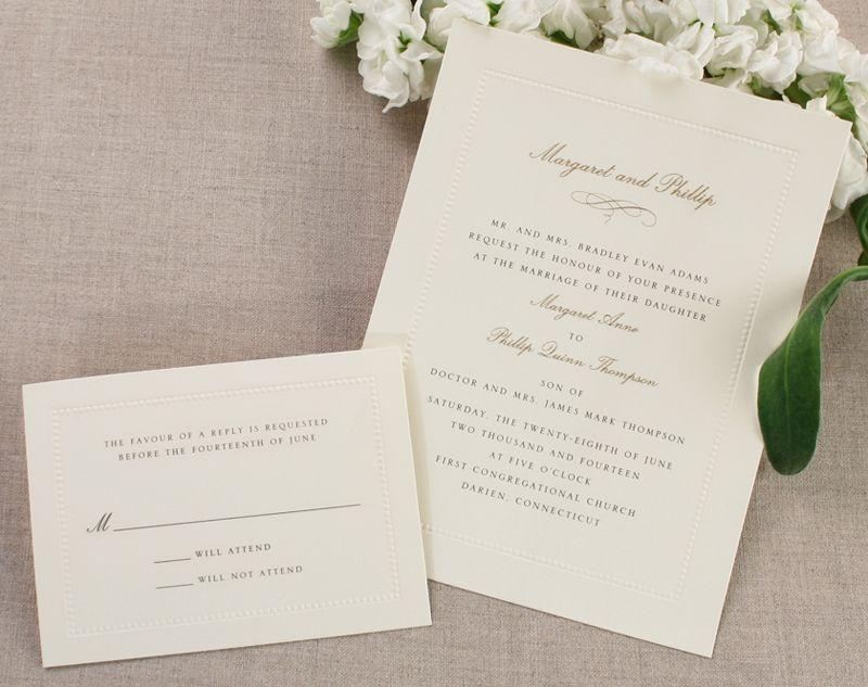 Wedding Invitations William Arthur: Ecru Beaded Border, William Arthur