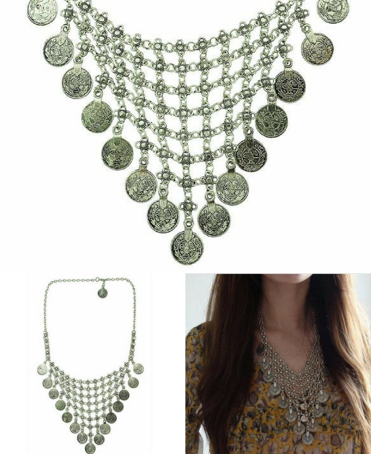 COACHELLA'S | BOHO CHIC NECKLACE    A shimmering skein of brilliant medallions, this Californian oasis-inspired item will send your spirit soaring and bring vivid life to all occasions. Perfect for your low-cut tees in summer and your turtlenecks in winter, Coachella's will be the sweetly-tinkling melody to your everyday style.