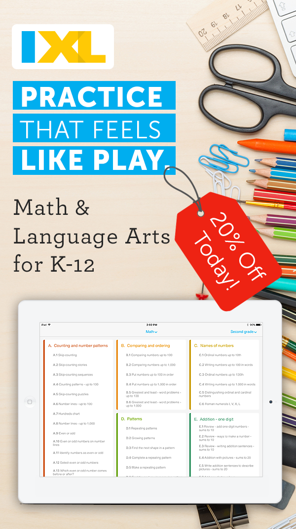 Save 20% off an IXL membership! Join for unlimited math practice ...
