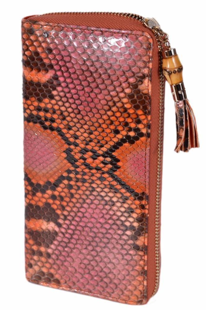44535eb5e5d New Gucci Women's 307984 Orange Python Snakeskin Bamboo Zip Around Wallet  #Gucci #Clutch