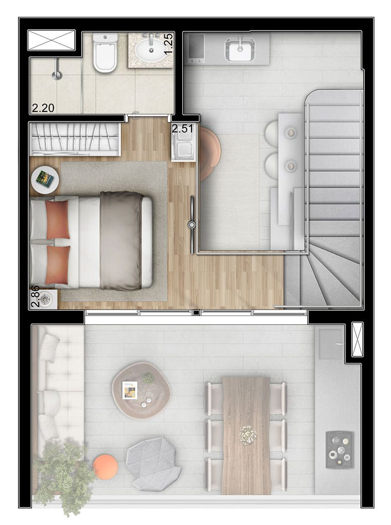 Planta do duplex pavimento superior 55m ideas para for Planos apartamentos pequenos