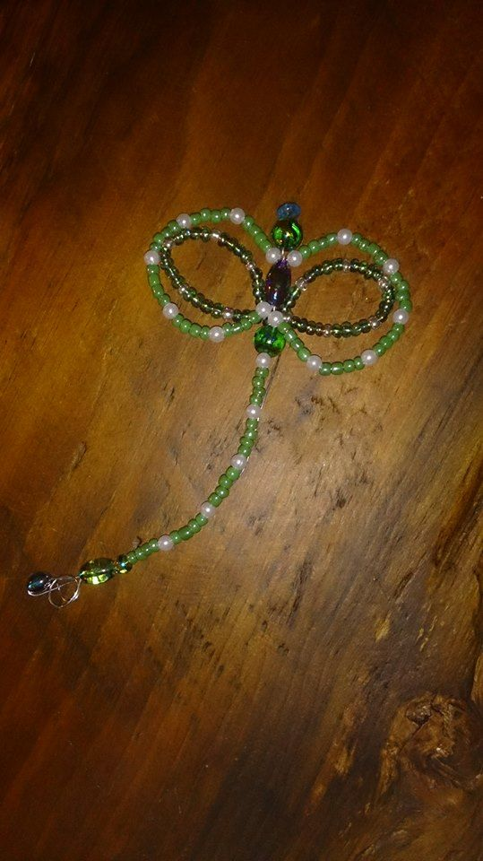 Beaded dragon fly, greens and pearls