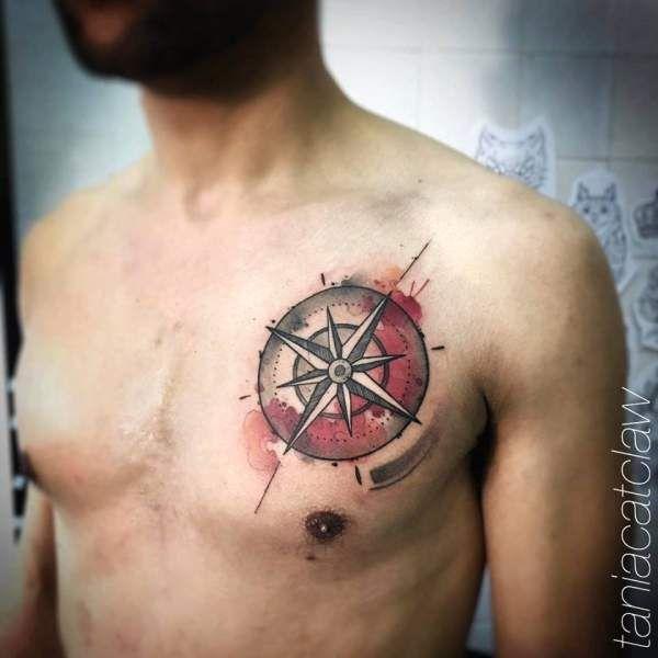 Tatouage Homme Boussole New Scool Sur Pectoraux Tattoos Compass