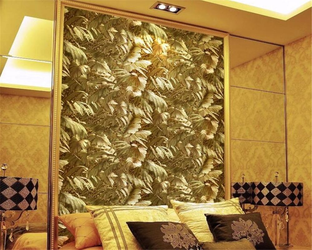 Beibehang Continental Bright Gold Metallic Reflective Plant 3D Wallpaper Luxury Living Room TV Background 3d