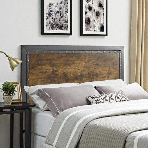 Queen Size Industrial Wood and Metal Panel Headboard Brown  Saracina Home