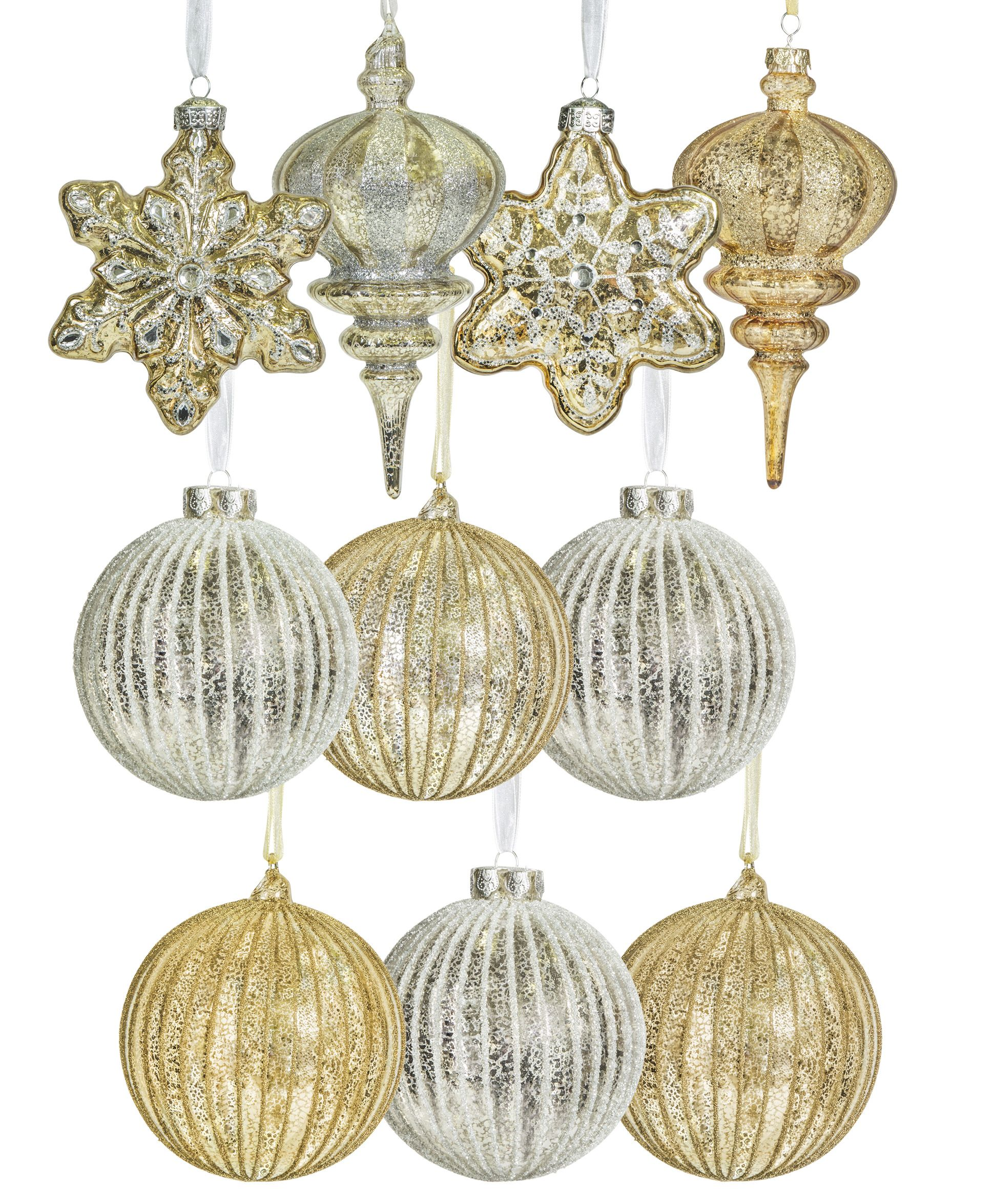Gold and Silver Glass Ornament Set Christmas tree
