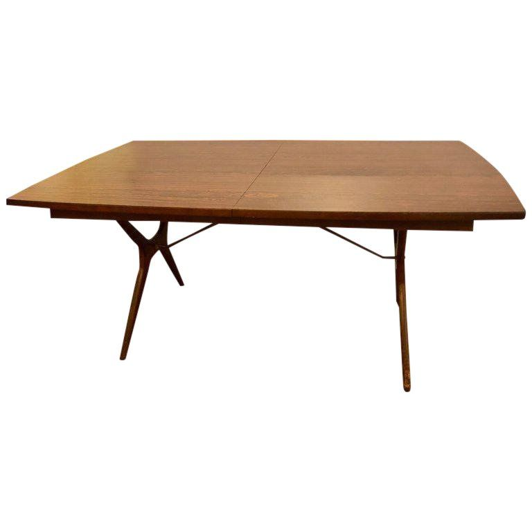 Mid Century Modern Rosewood Dining Table With Two Leaves By R Way Furniture