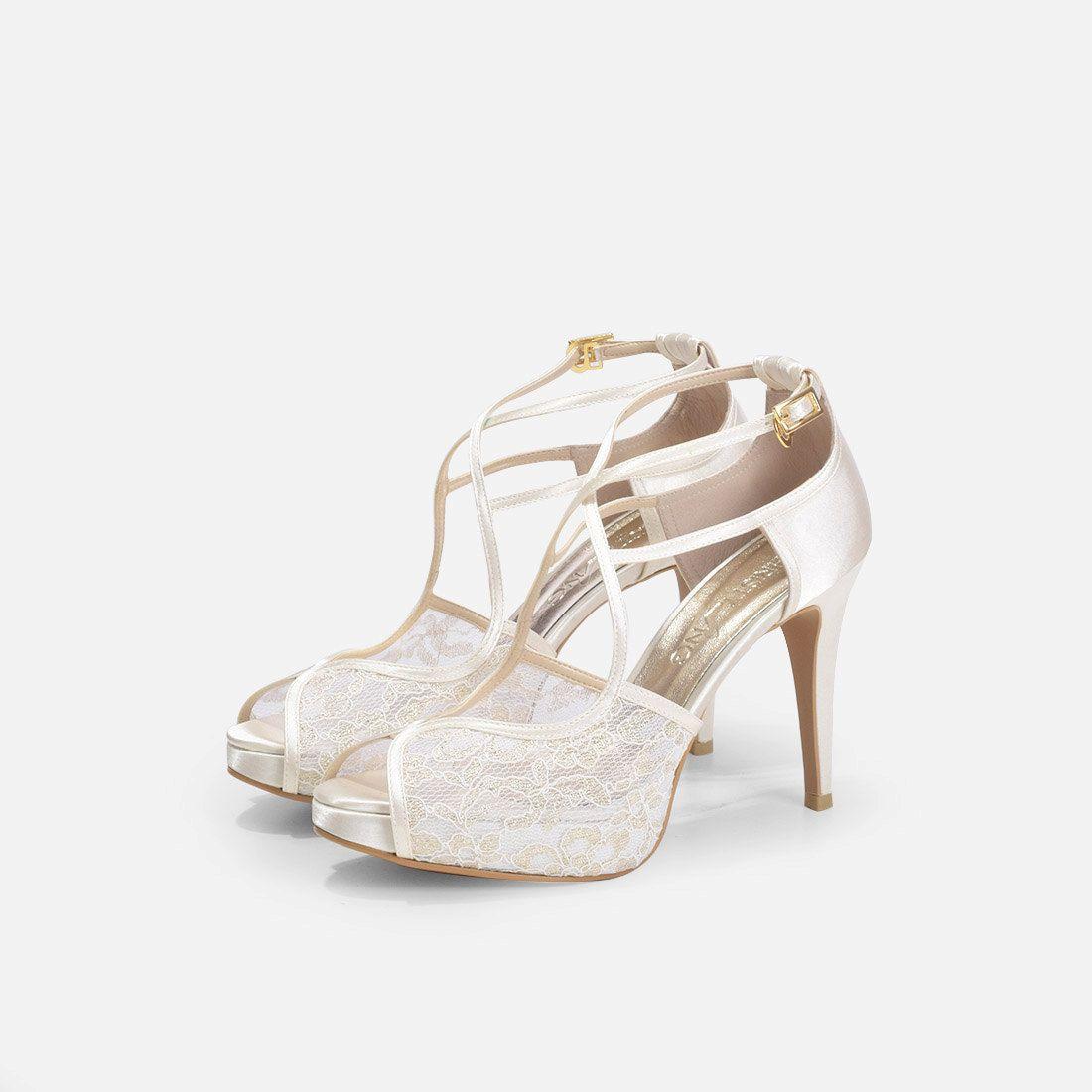 Viviana Ivory Lace Dress Shoes, Ivory Evening Heel, Lace