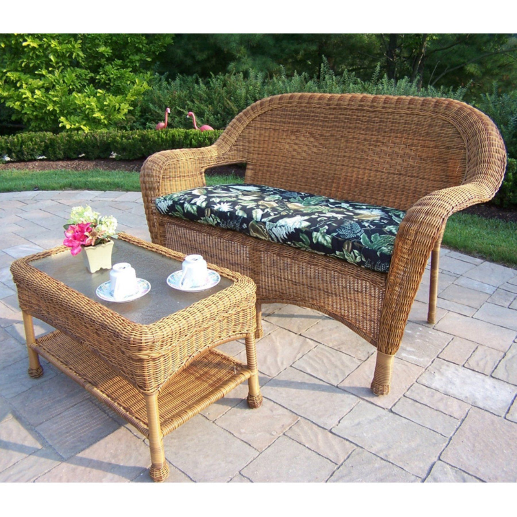 Outdoor Oakland Living All Weather Wicker Loveseat And Coffee Table Set    90027 2