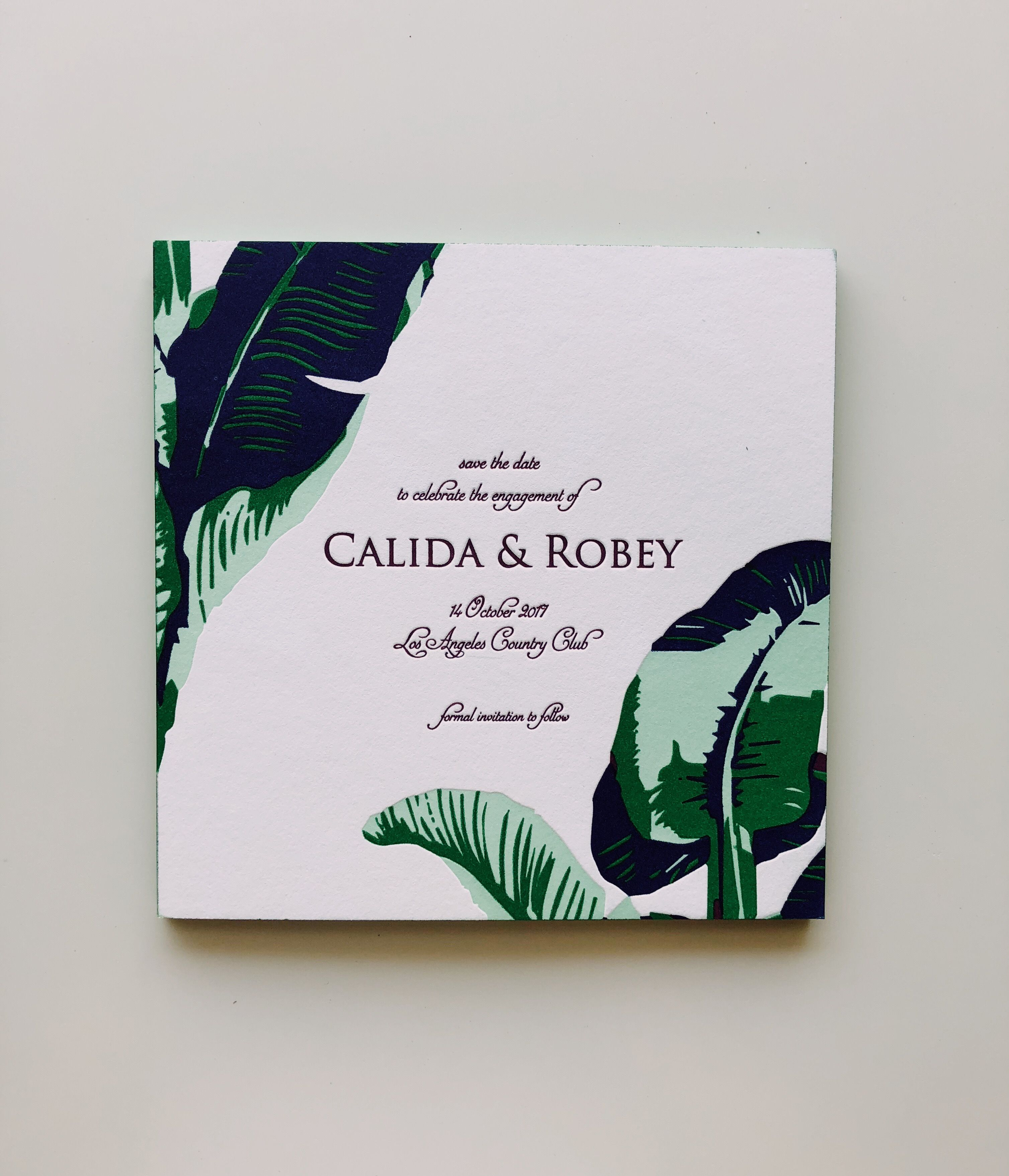 Save the Date Tropical Engagement Banana Leaves Gold Foil Wedding Announcement