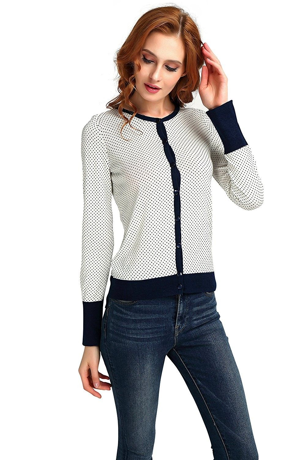 161eb912f6 Women s Sweaters- Crew Neck Pullover Sweaters Knit Button Sweater Classic  Long Sleeve - CD188CXU4IY