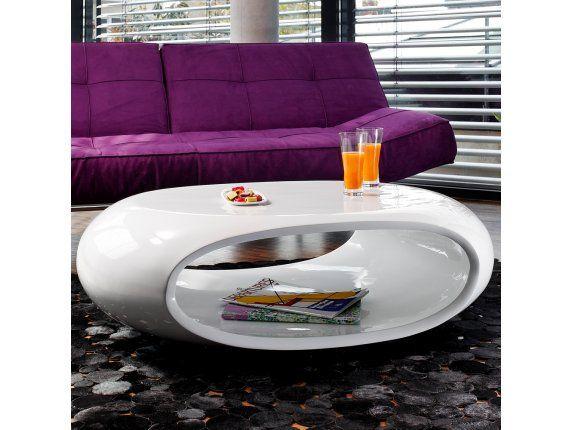 Couchtisch Weiß Hochglanz Oval 100 Cm Mit Ablage Ufo