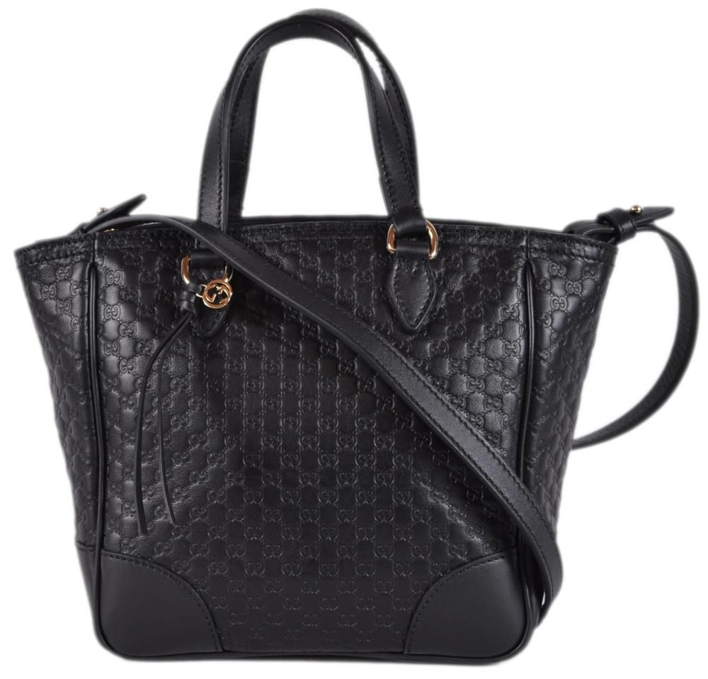 1d4d2d7383f0dc New Gucci Women's 449241 Black Leather Small Bree GG Guccissima Crossbody  Bag