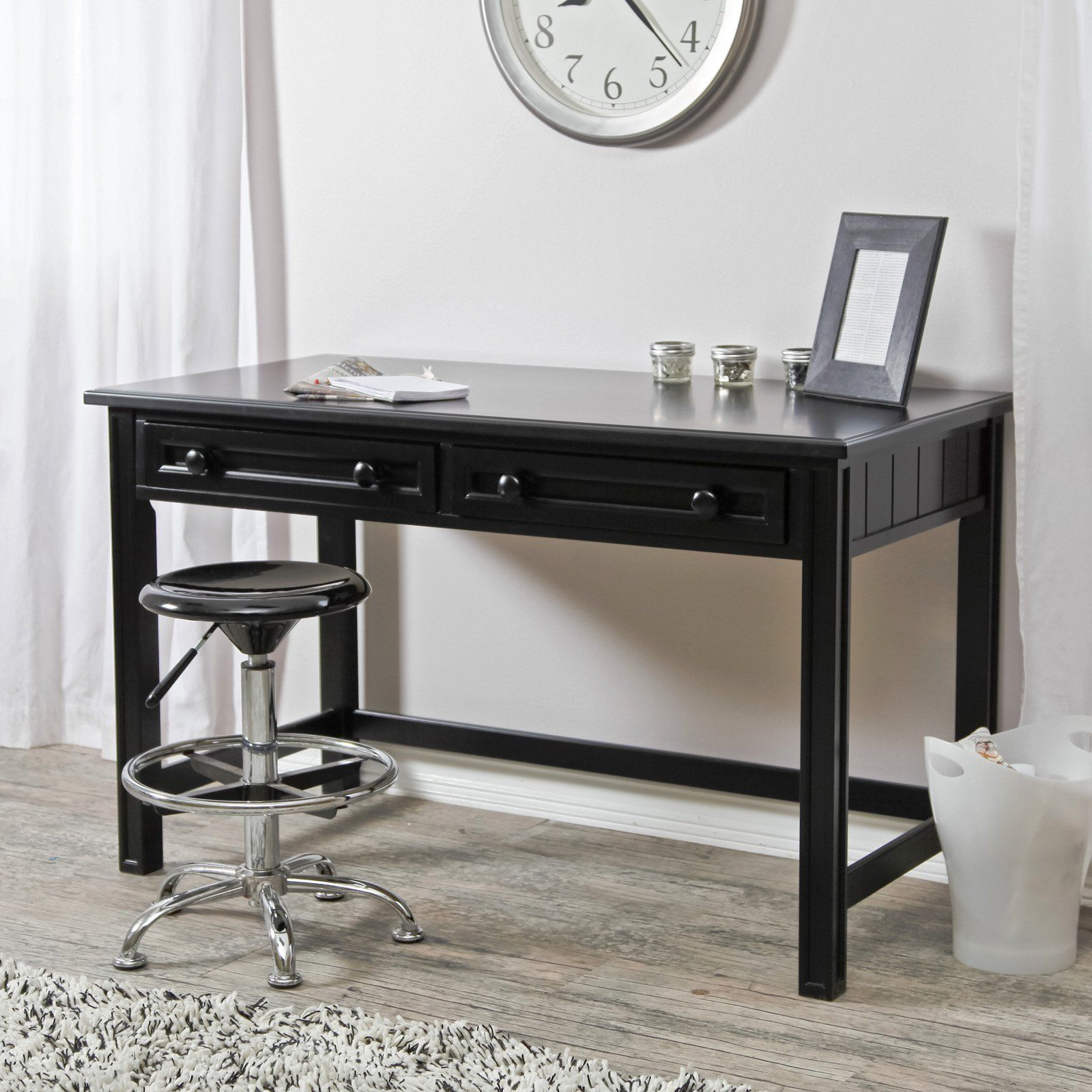 Casey writing desk black let the words and your home office design flow with the casey writing desk black crafted with durable wood finished in a