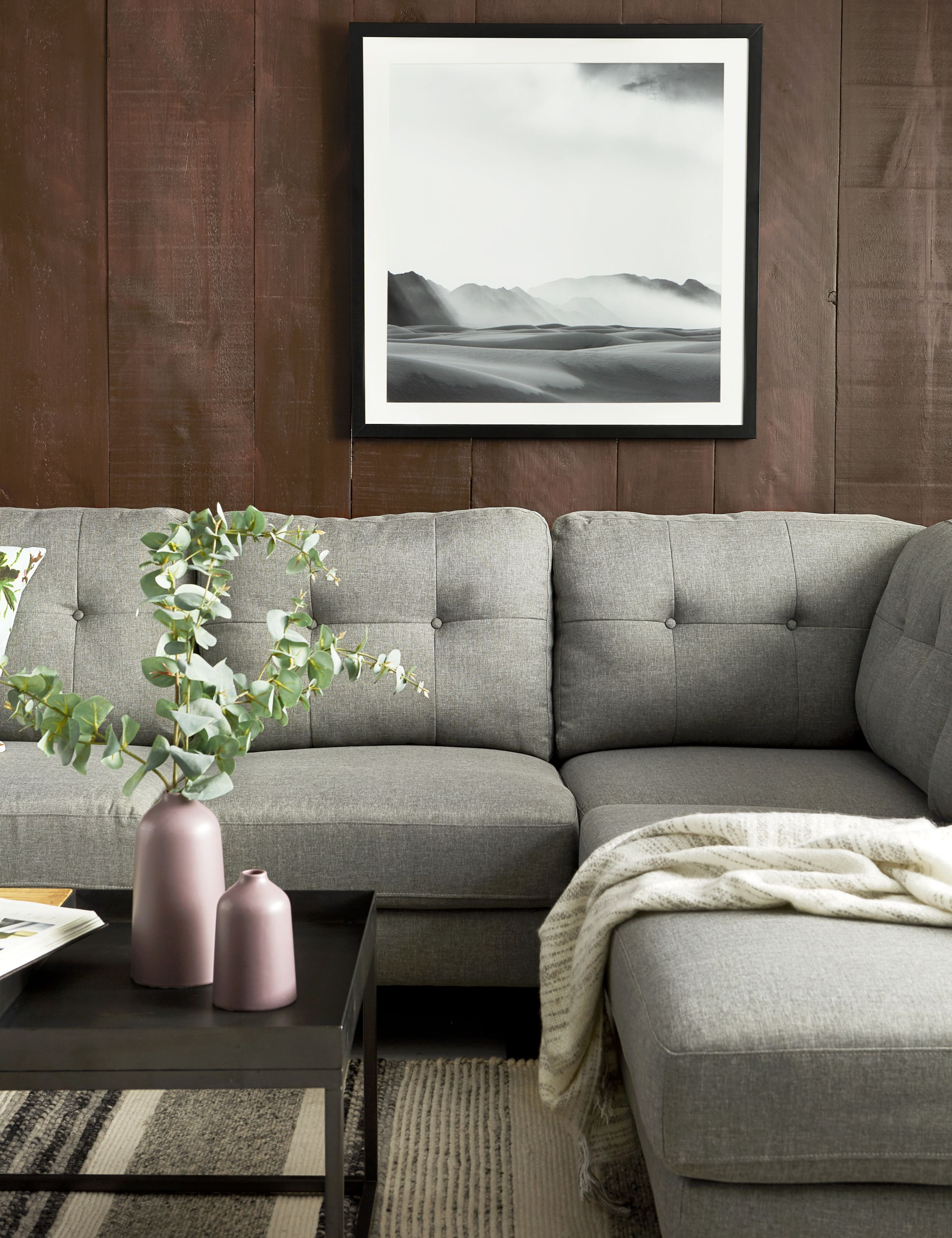 Light Grey Right Facing Sectional Sofa With Detachable Unit