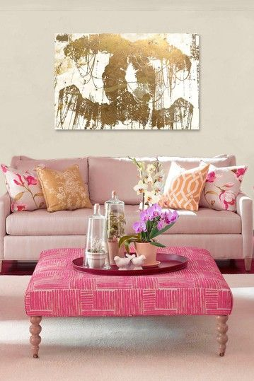 Mauve Pink and Gold Living Room featuring Oliver Gal Hey Lolita Gold ...