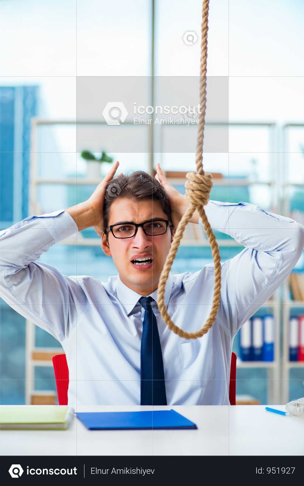 Premium Unhappy Businessman Thinking Of Hanging Himself In The Office Photo Download In Png Jpg Format Business Man Photo The Office