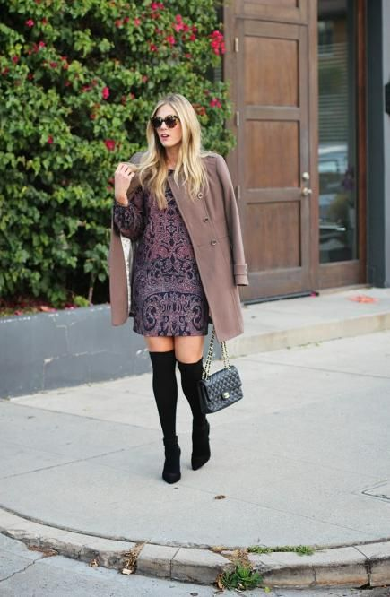 If you're not a fan of tights, try rocking a pair of over-the-knee boots or thigh-high hosiery with your mini dress. It's a refreshing and stylish way to keep your legs warm on a cool fall days. #fall #style