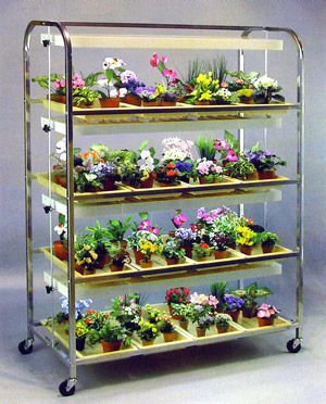 Large 4 Shelves 16 Tray Lighted Seedling Cart To Get 400 x 300