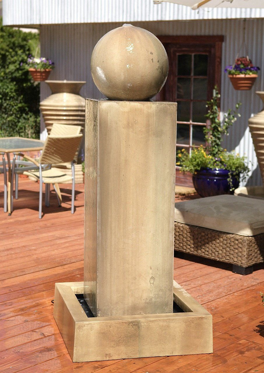 Monolith With Ball Garden Water Fountain | Water fountains, Outdoor ...