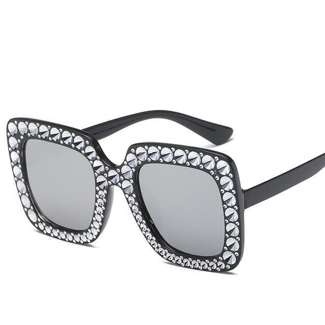 59b9756c6dd Women Square Sunglasses Ladies Brand Designer Luxury Rhinestone Sunglasses