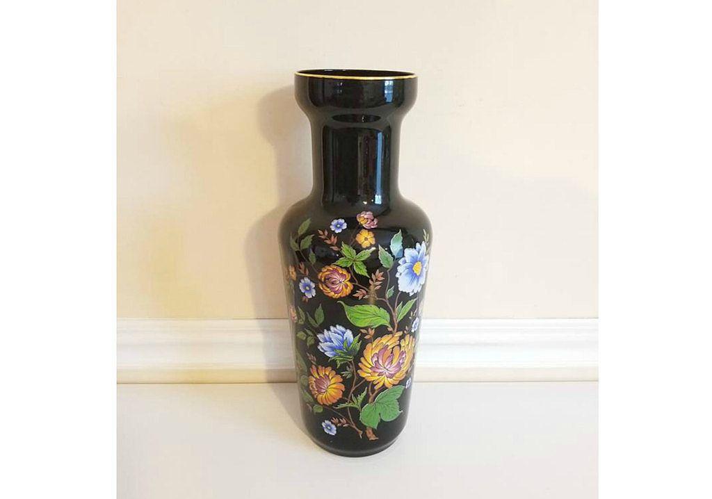 Black Amethyst Vase Hand Blown Floral Vase 24 K Floral Vase