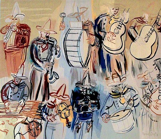 ORQUESTA MEJICANA Raoul Dufy (French, 1877–1953) Los fauves (que significa «fieras», «bestias salvajes») trabajaban con colores llamativos e irreales y atrevidas formas; ricos contornos marcaban su obra. Dufy adoptó este estilo al que añadió un trazo vigoroso y espontáneo. La pintura de Dufy refleja este enfoque hasta alrededor de 1909, cuando el contacto con la obra de Paul Cézanne le lleva a adoptar una técnica algo más sutil. En el año 1920, después de haber hecho sus ensayos con el…