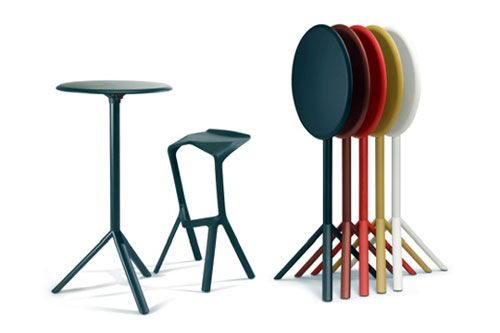 Portable Bar Stools Tables Folded For Compact Storage