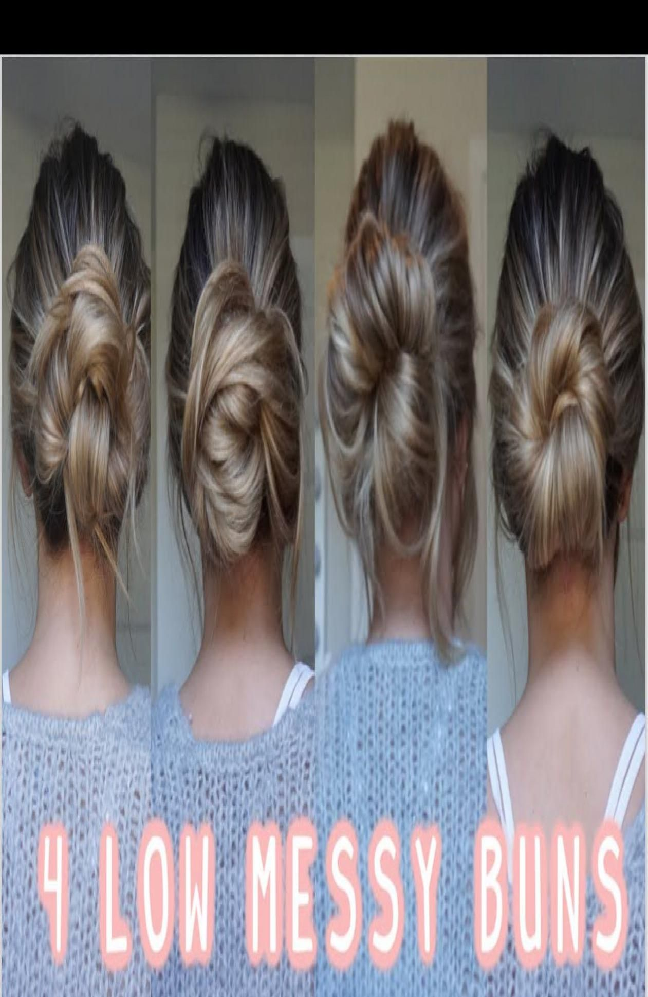 4 Ways To Do A Low Messy Bun Easy Long In 2020 Hair Bun Tutorial Easy Bun Hairstyles Low Bun Hairstyles Tutorial