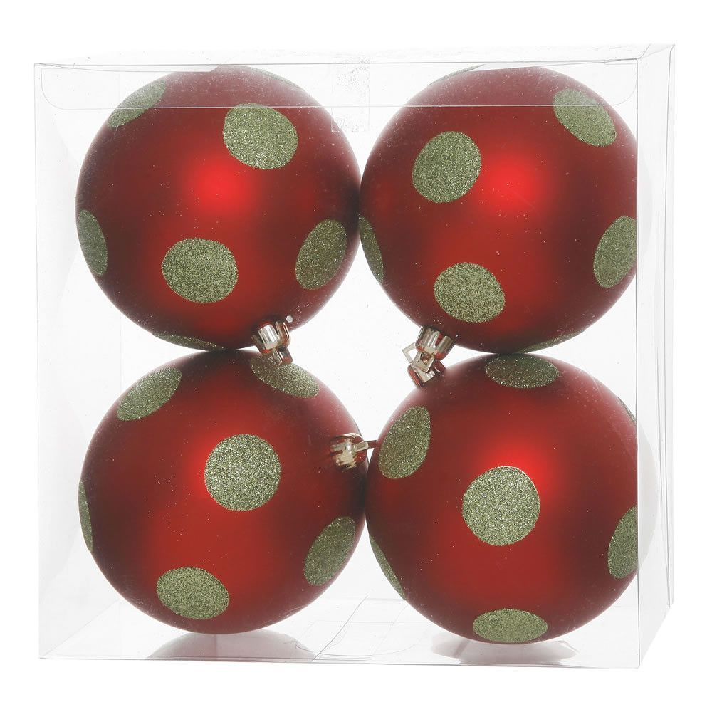 Vickerman Polka Dot Glitter Ball Ornament Set Of 4 Christmas Ornament Sets Red Ball Ornaments Ornament Set
