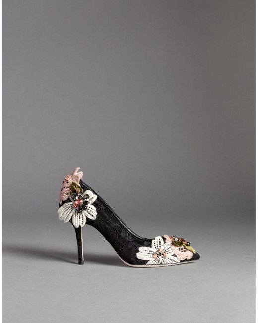 Women's Black Embroidered Lace Bellucci Pumps