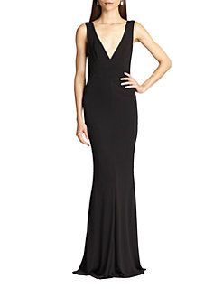 ABS - Jersey Deep V-Neck Gown