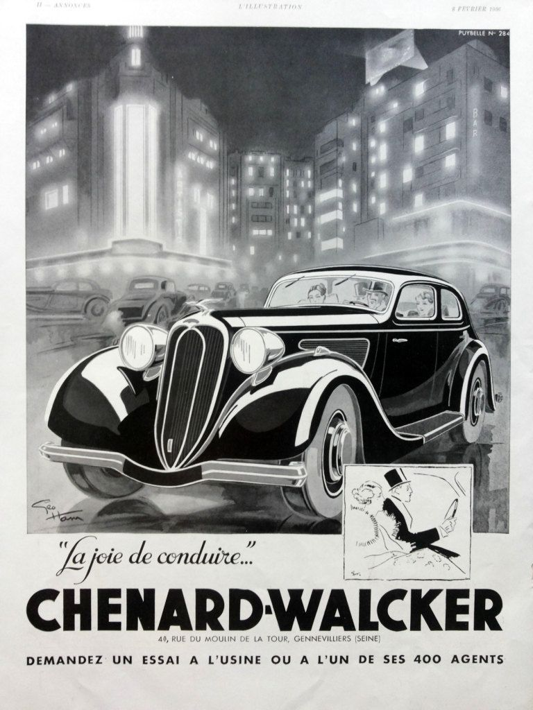 CHENARD WALCKER Automobiles Poster Original Ad Vintage Advertisement From 1936 Ideal Classic Heating Systems On The Reverse Side By OldMag Etsy