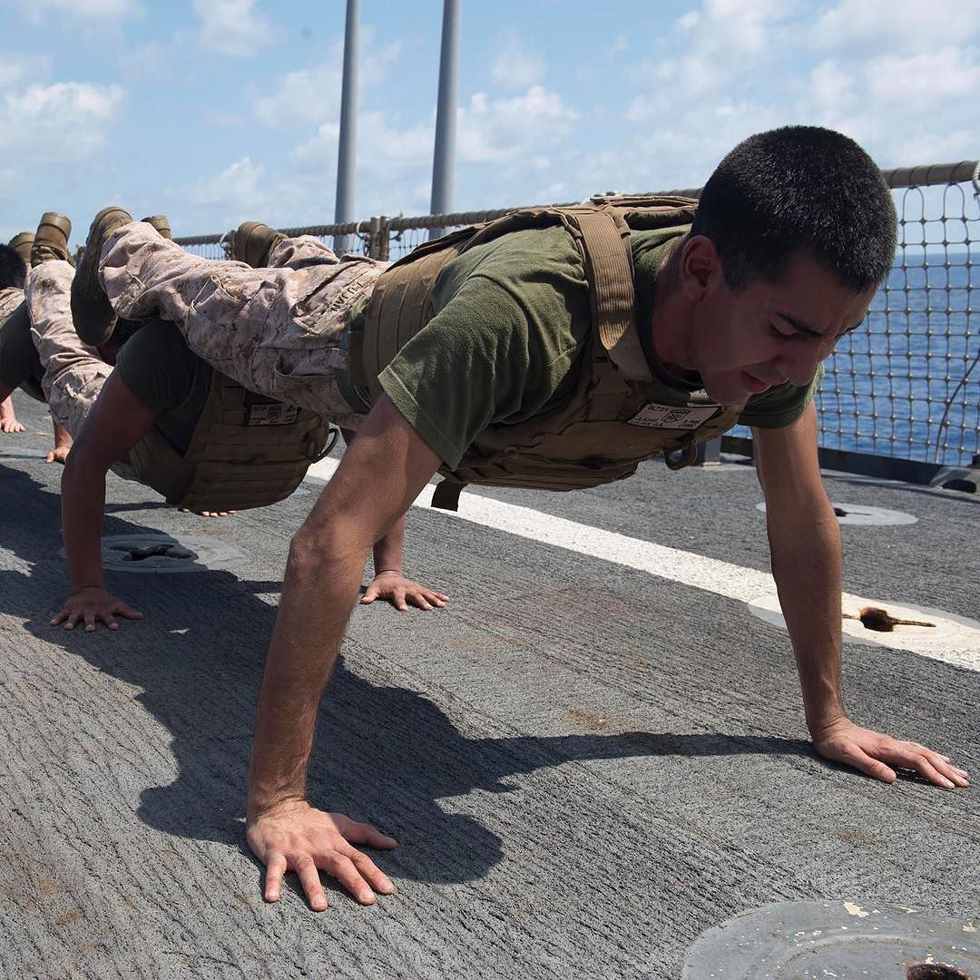 The Marine commitment to fitness continues at sea and aboard the USS Harpers Ferry where Marines with the @official_13th_meu conduct physical training. #MoveInMay by usmarinecorps