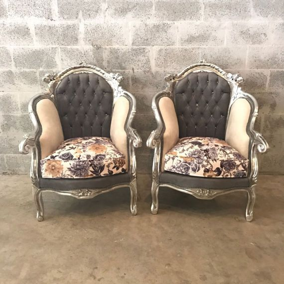 italian antique furniture silver gray chair baroque tufted settee 5 piece set avail tufted