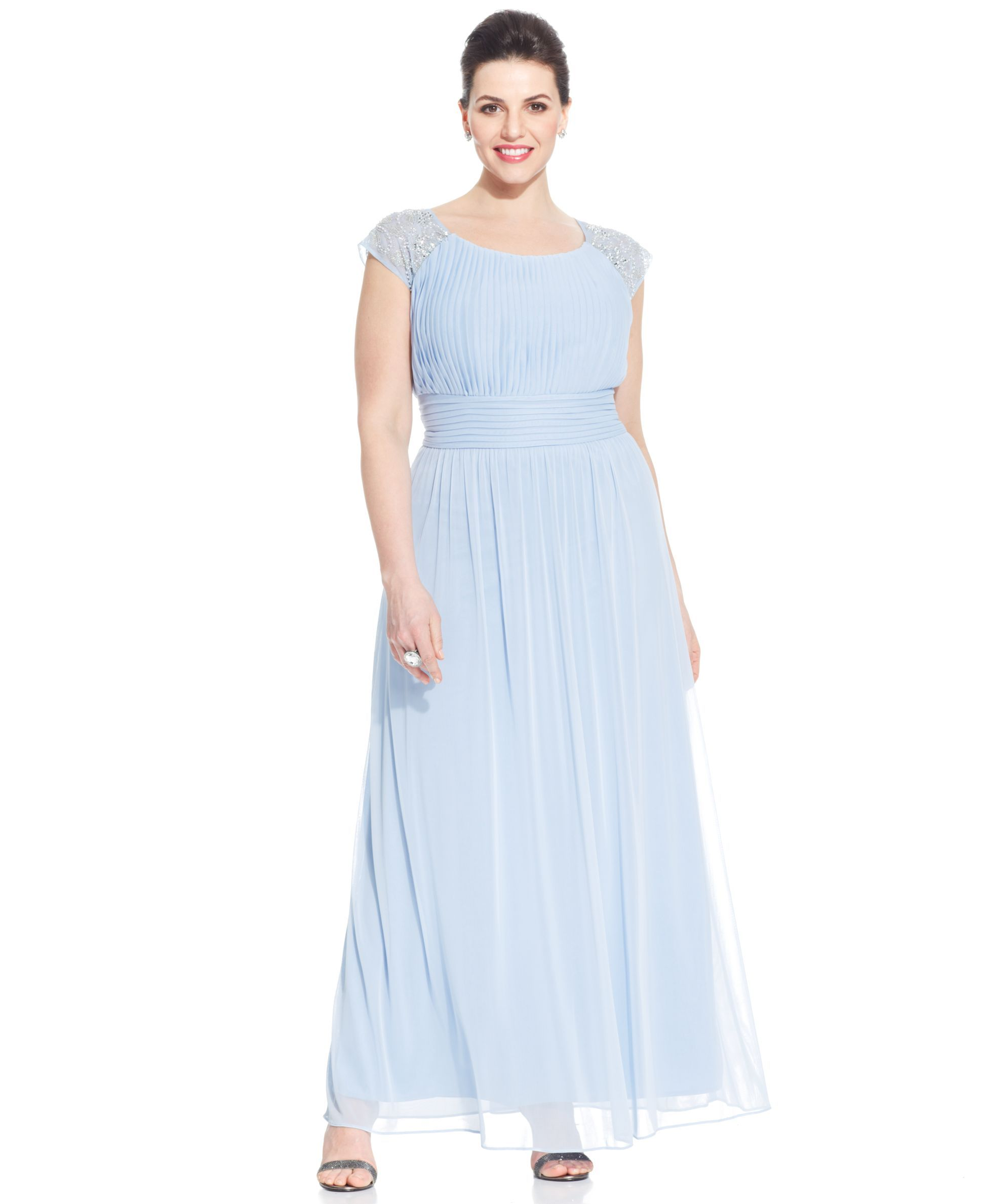 Patra Plus Size Embellished Cap-Sleeve Gown | Dresses, Gowns ...