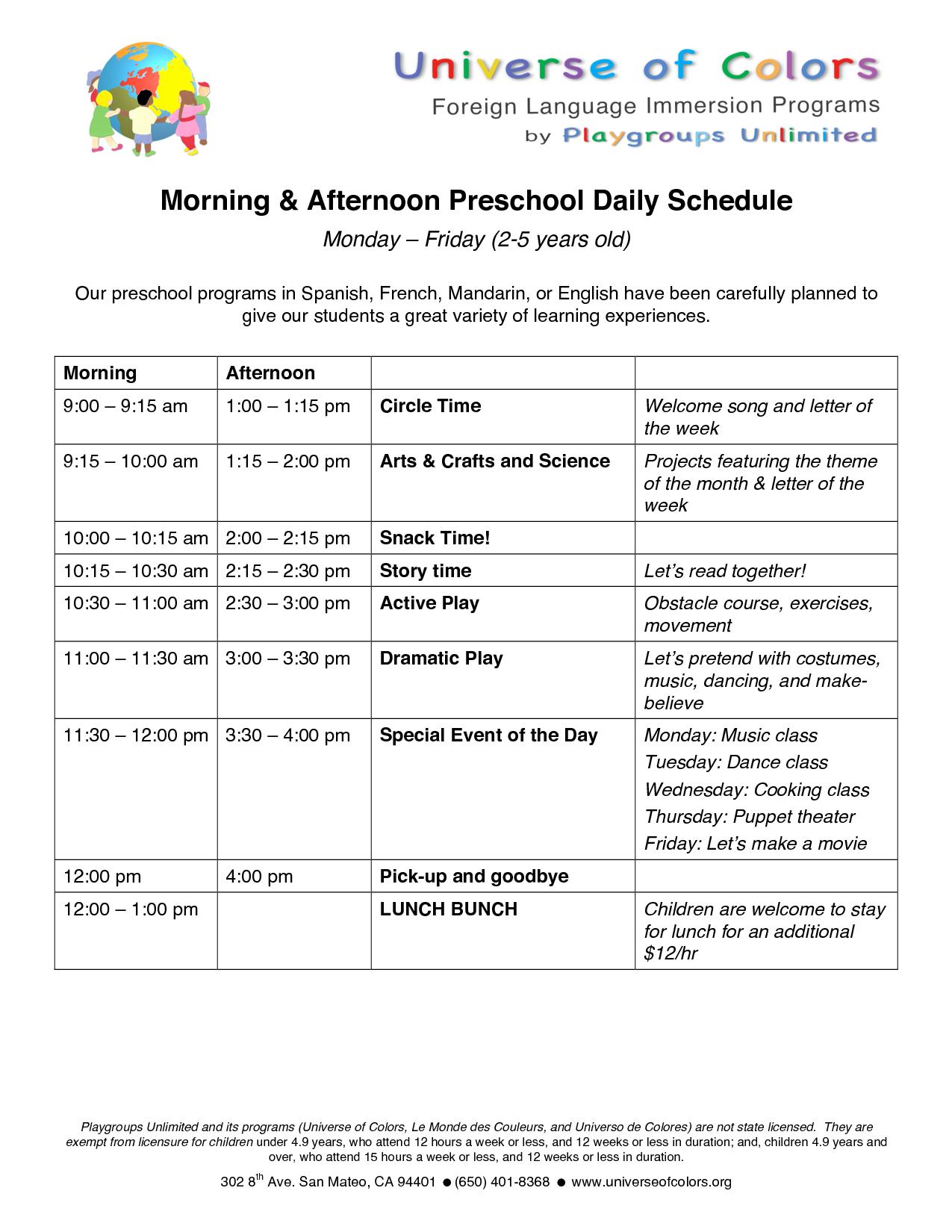 UOC-Preschool Daily Schedule | Nanny - Homeschooling Ideas | Pinterest