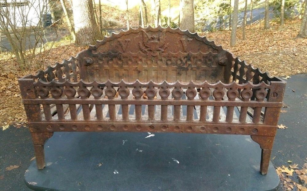 Howes Antique Cast Iron Fireplace Coal Basket Insert Wood Log