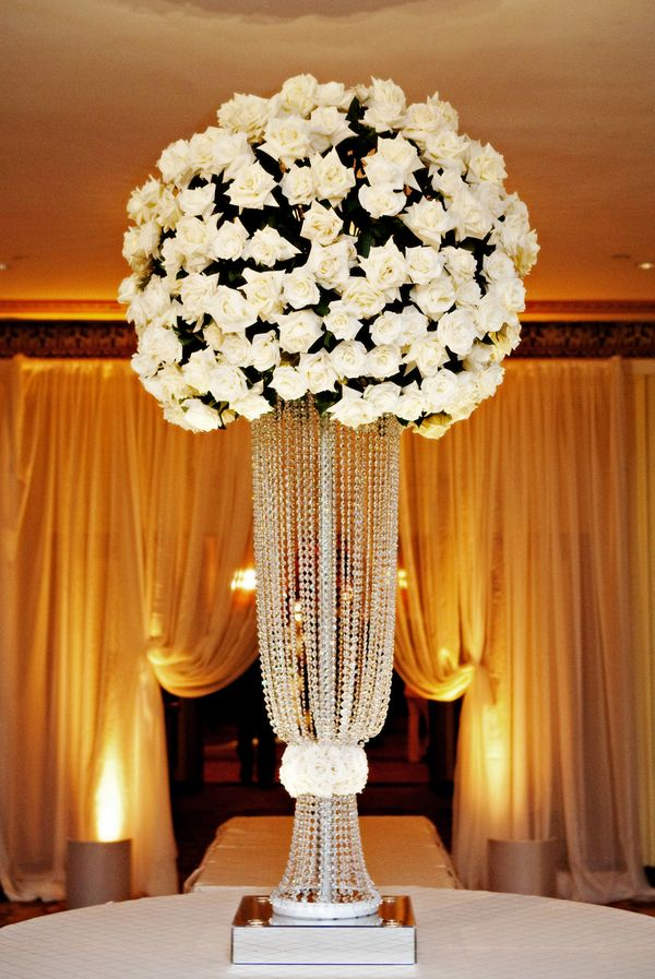 Tall rose wedding centerpiece centerpieces
