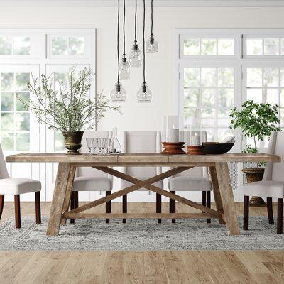 Photo of Wilburn Extendable Dining Table Color: Weathered Natural Fin…