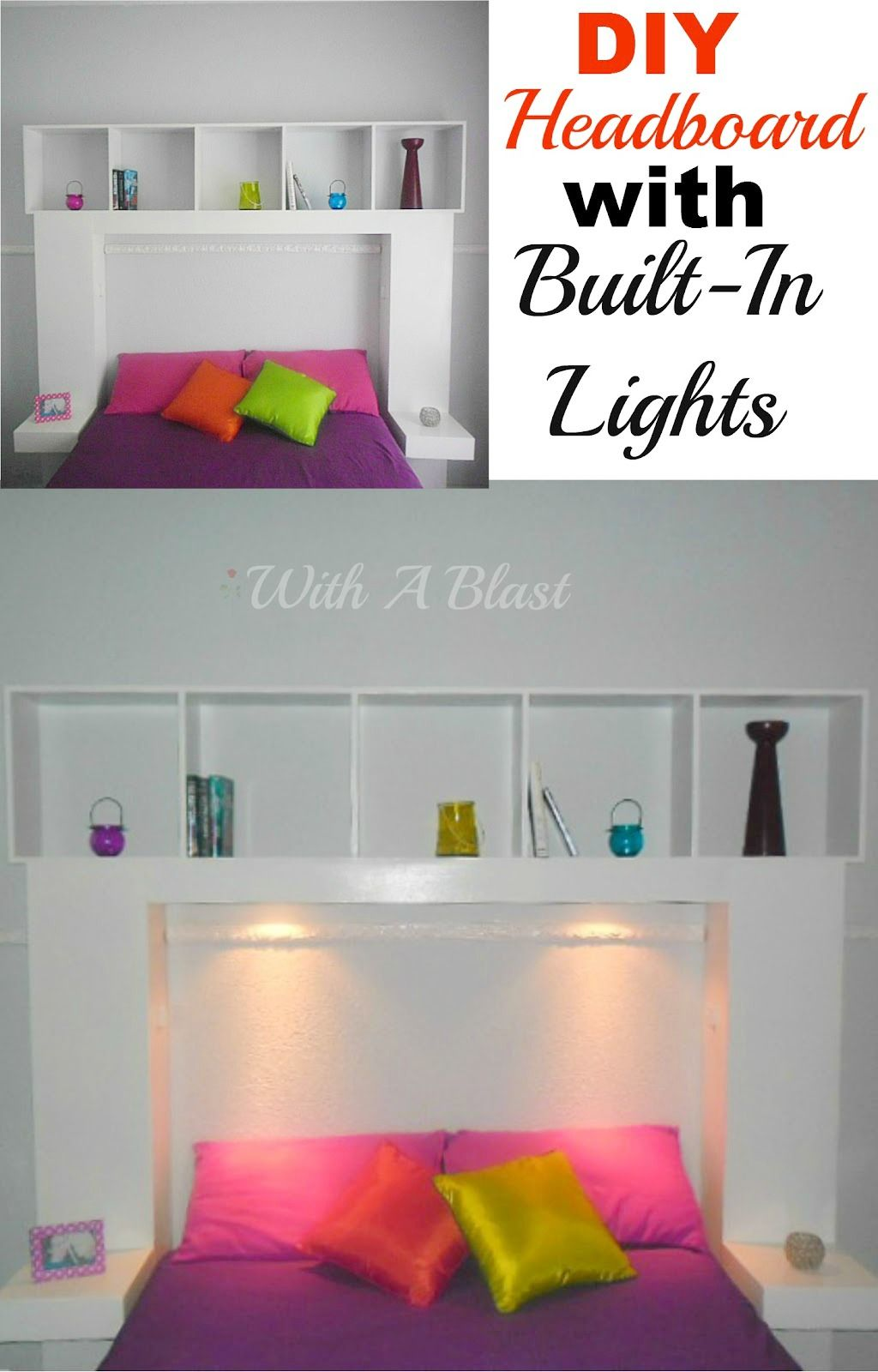 Diy headboard with builtin lights diy headboards easy and lights