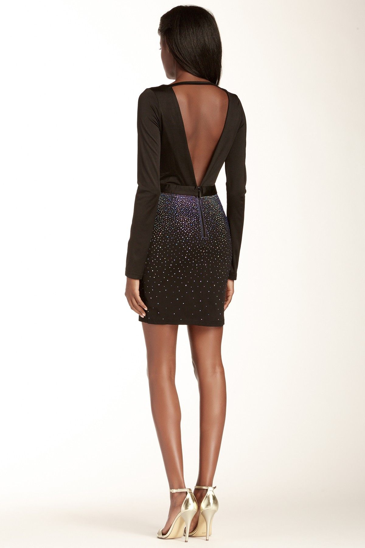 Rhinestone embellished long sleeve dress sleeved dress couture