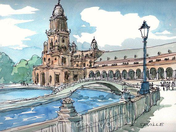 Seville Plaza De Espana Spain Art Print From An Original