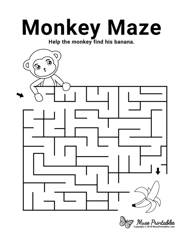 Free Printable Monkey Maze. Download It From  Https://museprintables.com/download/maze… Mazes For Kids Printable, Fun  Worksheets For Kids, Activity Sheets For Kids