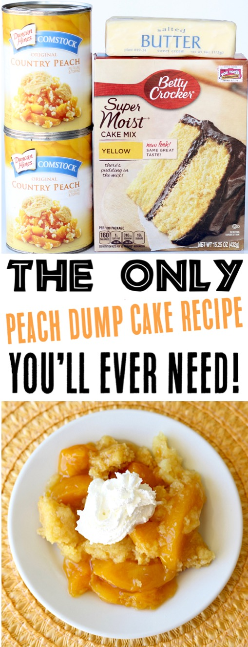 Peach Dump Cake Recipes  Easy Crockpot Peach Cobbler Recipe with 3 Ingredients Go grab the recipe and give it a try this week