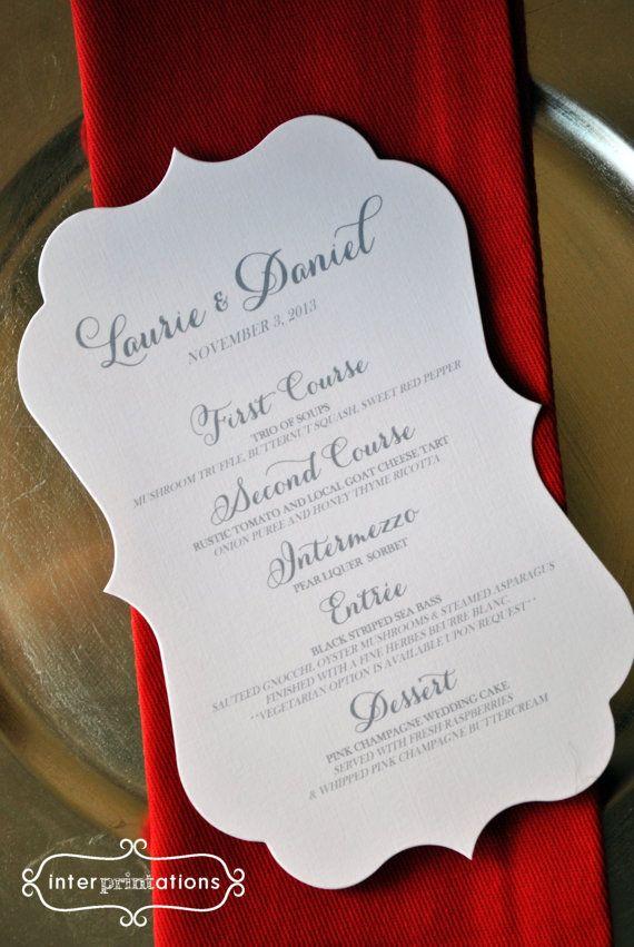 wedding card wordings simple%0A Die Cut Menu Card   Laurie Collection   Sample by Interprintations